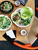 Prawns and pork larb with fragant Savoy cabbage salad