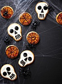 Skull and cobweb cookies