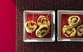 Tortilla and chicken spirals