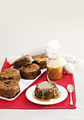 Steamed Sticky Date and Dark Chocolate Puddings and Spiced Caramel Sauce
