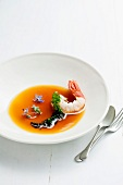 Rooibos steamed crayfish with iced rooibos-and-tomato consomme