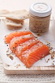 Pickled salmon with honey mustard sauce