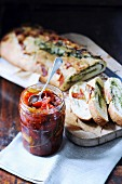 Almond-pesto bread with tomato and pepper chutney