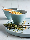 Green soya beans with yellow peas and lentils