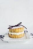 A scone filled with vanilla cream