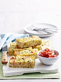 Corn, bacon and zucchini rice slice