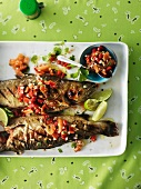 Barbecued fish with pepper salsa