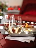 Prawns wrapped in Serrano ham, with white wine