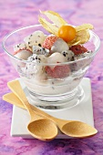 Exotic fruit salad with lychees and dragon fruit