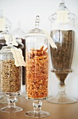 Various Dried Teas in Decorative Glass Jars
