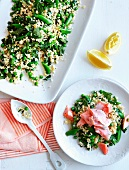 Fregola salad with salmon trout fillet