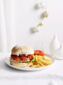 Chicken burger with chilli sauce
