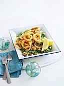 Calamari rings with amaranth
