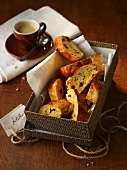 Cantuccini in a gift box, and a cup of espresso