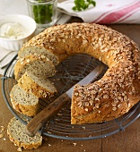 Oat bread wreath with linseeds