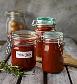 Home-made pasta sauce in preserving jars