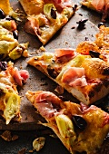 Pancetta, Artichoke and Olive Pizza Slices on Stone