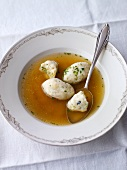 Beef broth with bone marrow dumplings