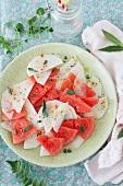 Watermelon and white radish salad with fresh sage