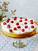 A summer cake with cream and raspberries