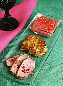 Duck breast with rhubarb chutney and potato rösti (fried Swiss potato cake)