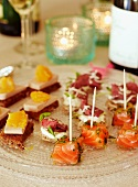 Assorted canapés with salmon and roast beef