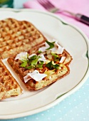 Waffles with ham, cheese and chives