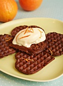 Chocolate waffles with orange ice cream