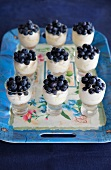 Individual blueberry trifles with cream cheese