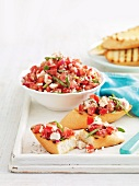 Tomato and fetta bruschetta
