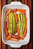 Roasted Squash and Carrots in a Baking Dish