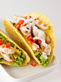 Corn tacos filled with chicken breast and sour cream