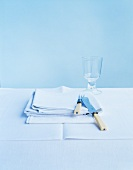 Napkins and a place setting in blue