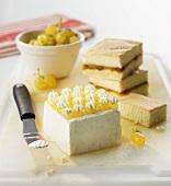 Sponge cake with grape icing