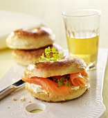 Bagel with Lox, Cream Cheese and Red Onion