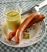 Home-made sweet mustard sauce to serve with Wiener sausages
