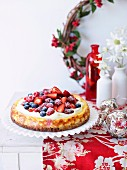 Christmas cheesecake with berries