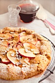 Crostata with apples and slivered almonds
