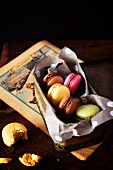 Macaroons in a biscuit tin