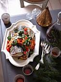Mackerel with romesco sauce, cherry tomatoes and fresh herbs