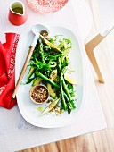 Green asparagus and avocado salad