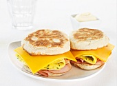 Sandwiches filled with cheddar cheese, egg and ham