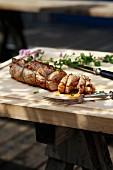 Barbecued stuffed fillet of pork