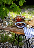 Barbecue with olives, flatbread, feta and spreads (Greece)