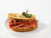 A pastrami sandwich with pickled gherkin