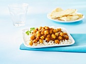 Chana masala (chickpea curry, India) on a bed of rice