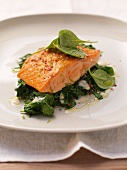 Salmon with lime-infused spinach