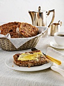 Wholemeal wheat bread with honey, walnuts and cranberries
