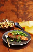 Salmon steak with fried rice