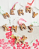 'Merry Xmas' written in gingerbread letters